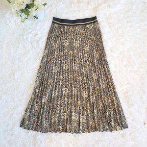 Morris & Co H&M Sz Sm Pleated Paisley Midi Skirt